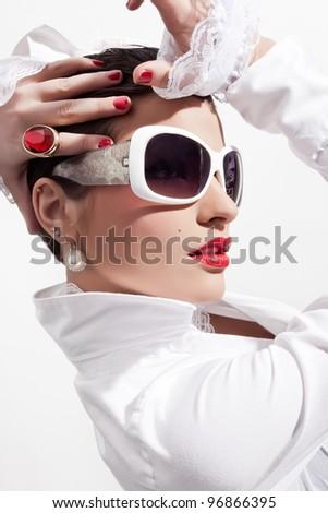 close up elegant stylish beauty model - stock photo