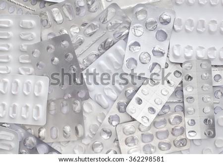 Close up empty blister packs background , full frame - stock photo
