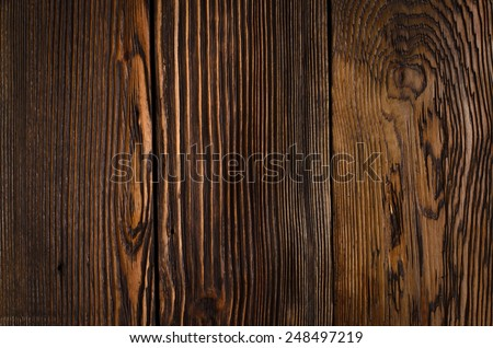 Close up Empty Textured Brown Wooden Wall. Emphasizing Abstract Prints and Copy Space. - stock photo