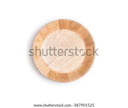 Close up empty wooden bowl isolated on white background