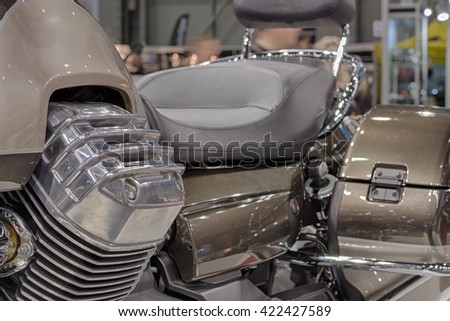 Close up engine of motorcycle, indoor photo  - stock photo