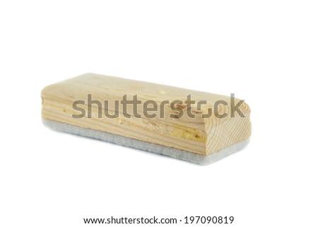 close up eraser board on white background - stock photo