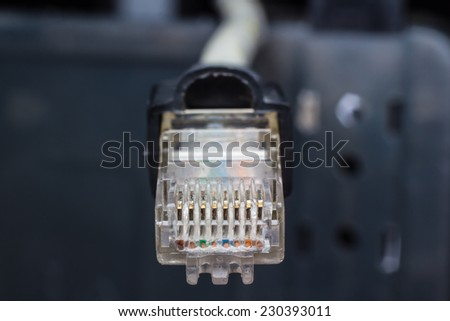 Close-up Ethernet connector - stock photo