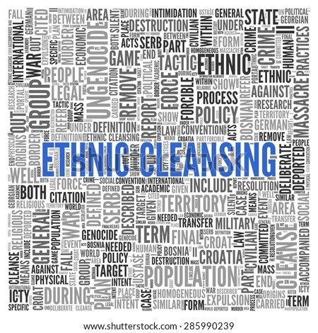 Close up ETHNIC CLEANSING Text at the Center of Word Tag Cloud on White Background.