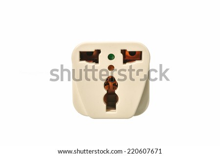 Close up European and Australian adapter plug isolated on white background - stock photo