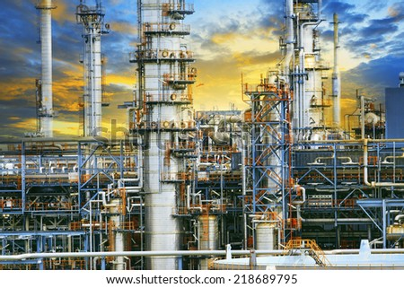 close up exterior strong metal structure of oil refinery plant in heavy industry estate site  - stock photo
