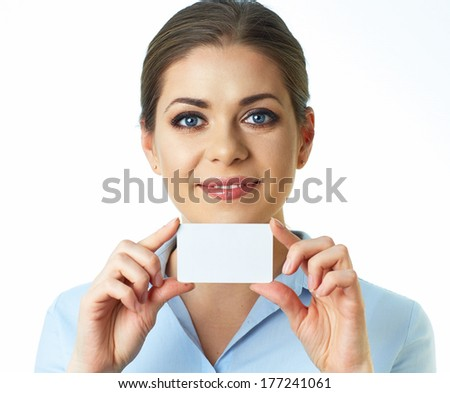 Close up face business woman isolated white background. Credit card. - stock photo