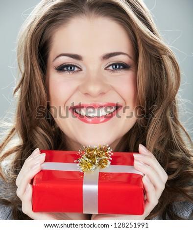 Close up face, happy woman, gift box. - stock photo