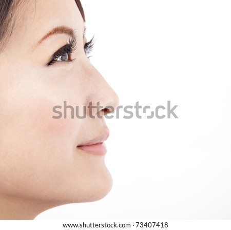Close up face of a beauty  asian woman isolated on white  background - stock photo