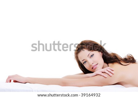 Close-up face of a beauty caucasian woman with a naked body - stock photo