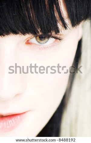 close up face of a young woman - stock photo