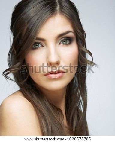 Close up face of beauty woman portrait. Female model studio portrait.