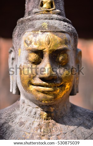 close up face of Image Buddha in Prasat Mueang Sing Historical Park, Kanchanaburi, Central of Thailand.