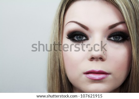 Close Up Face Of Innocence Woman - stock photo