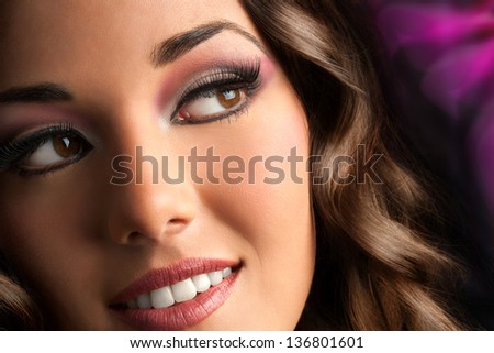Close up face portrait of attractive brunette with sensual look. - stock photo