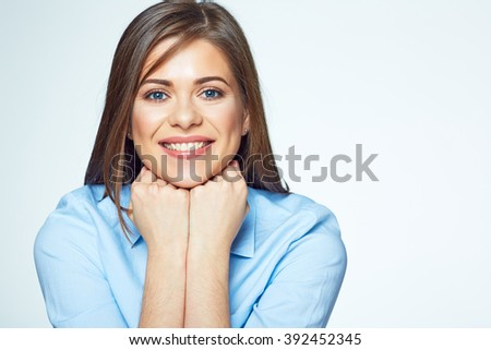 Close up face portrait of young business woman. Isolated white background. - stock photo
