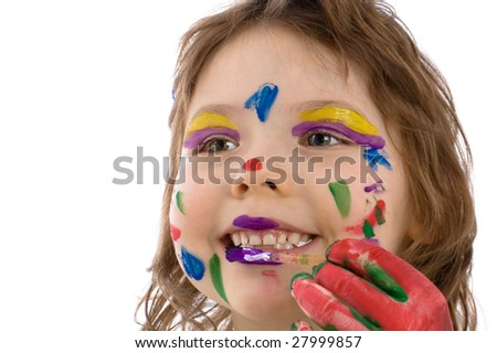 Close-up Fanny girl with painted hands and face, isolated on white - stock photo