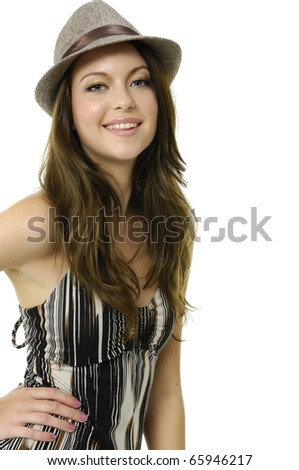 Close up fashion model wearing hat on white - stock photo