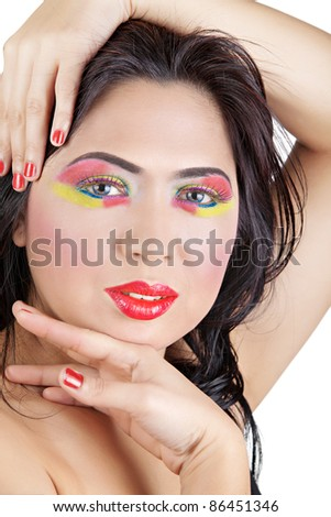 Close up Female's Face and Hands with Red and Yellow Makeup