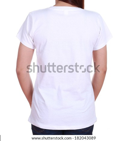 close-up female with white blank t-shirt (back side) isolated on white background