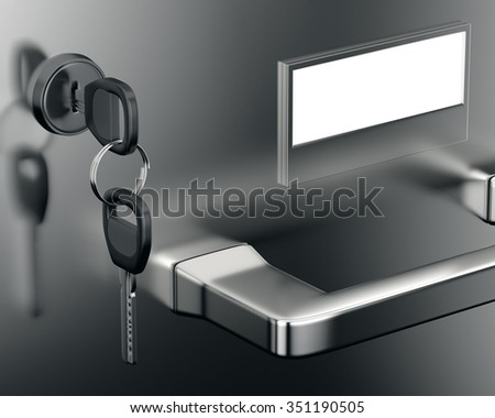 Close-up file cabinet drawer with keys. 3d render - stock photo