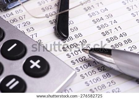 Close up Financial accounting analysis - stock photo
