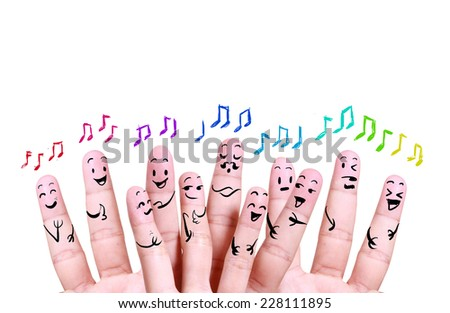 close up finger of social music symbol - stock photo