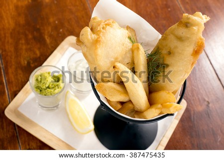 Close-up fish and chips - stock photo