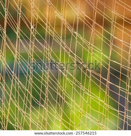 Close up fishing net against sun light with blur green background - stock photo