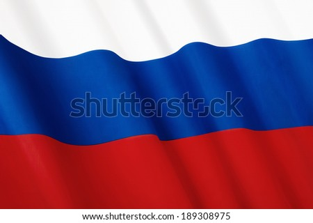 Close-up flag of Russian Federation - stock photo