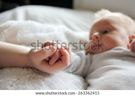 Close up focus on the hands of a newborn baby girl and her toddler brother lovingly holding hands,  with infant in the background. - stock photo