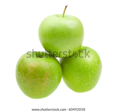 Close-up fresh apples with with water drops isolated on white background
