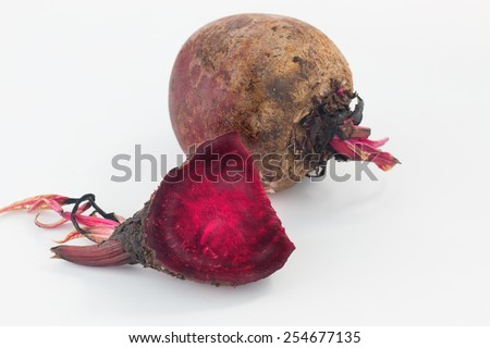 Close up fresh beetroot on white background - stock photo