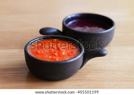 Close up Fresh Various Spices and Sauces  - stock photo