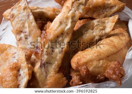 close up fried banana and taro - stock photo