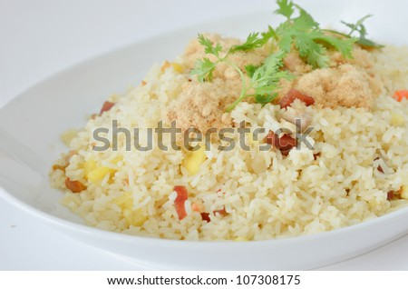 close-up  fried rice and  dried shredded pork  and chinese sausage
