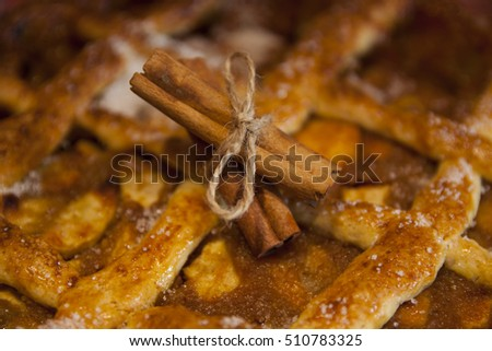 Close up from a cinnamon spiced apple pie