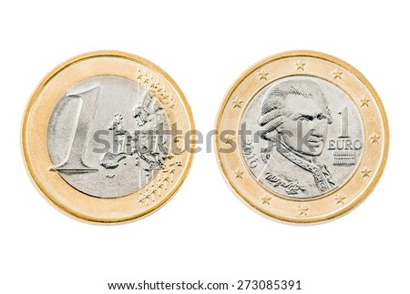 Close up front and back of one Euro coin with Wolfgang Amadeus Mozart isolated on white background