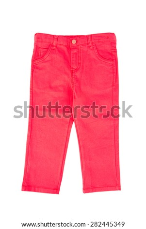 Close up front view of red chino child pants, isolated on white background.