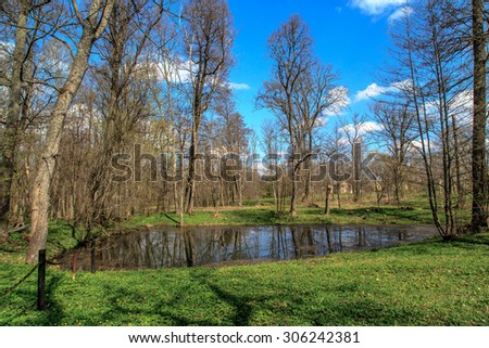 Close up front view of small lake in meadow area among trees in forest, on cloudy blue sky background. - stock photo