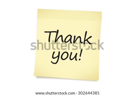 Close up front view of text of thank you on a yellow sticky note paper, isolated on white background.