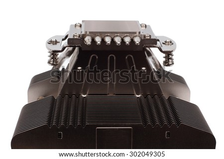 Close up front view on aluminum cpu cooler heat sink  with six pipes isolated on white background - stock photo