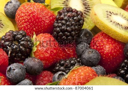 Close up fruit salad - stock photo