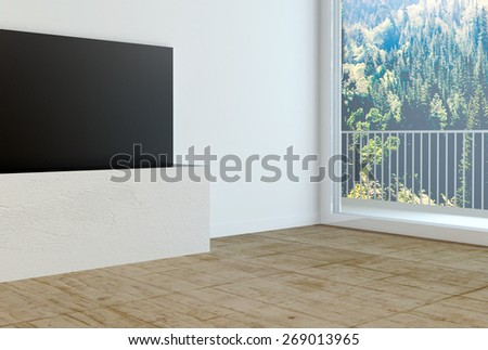 Close up Fully Furnished Empty Architectural House Terrace with Wall Cabinet on the Side. 3d Rendering. - stock photo