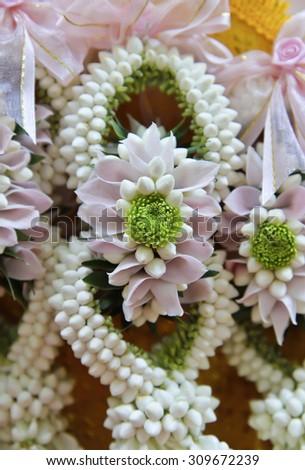 Close up garlands of jasmine flower. Thailand. - stock photo