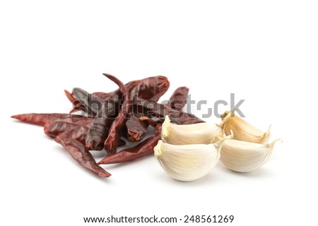 Close up Garlic and dry chili isolated on white background