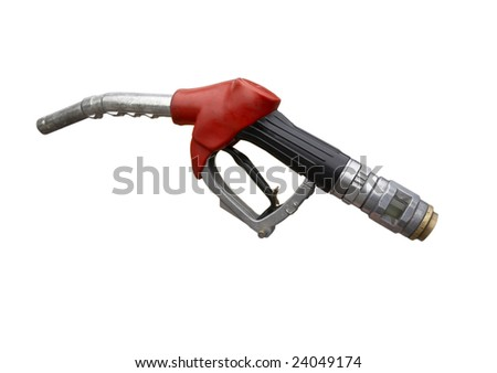 close up gas pump on white background with clipping path - stock photo
