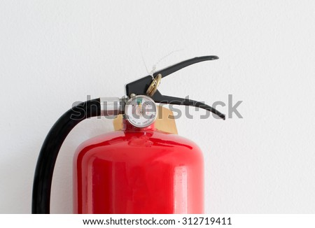 Close up gauges Fire safety on white cement wall background. - stock photo