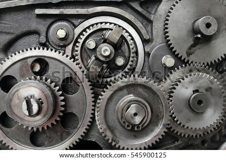 Close-up gears of engine