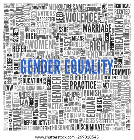 Close up GENDER EQUALITY Text at the Center of Word Tag Cloud on White Background.